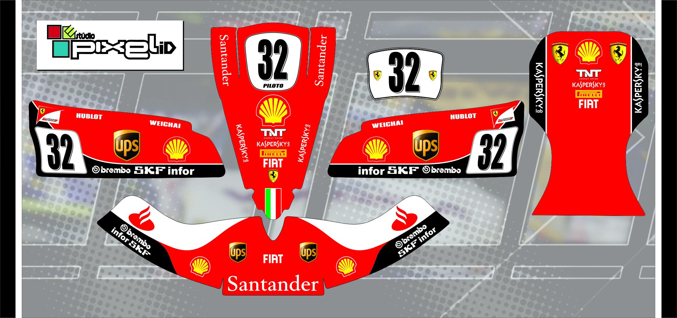 Artesanato Fortaleza ~ Adesivos Kart Réplica Ferrari F1 Adesivos para Kart Estúdio Pixel iD