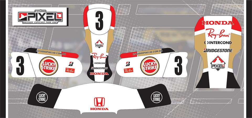 Artesanato Fortaleza ~ Kit Adesivos Réplica BAR Honda Jeson Button #3 Adesivos para Kart Estúdio Pixel iD